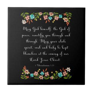 Bible Verses Art - 1 Thessalonians 5:23 Ceramic Tile