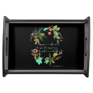 Bible Verses Art - 2 Corinthians 12:9 Serving Tray