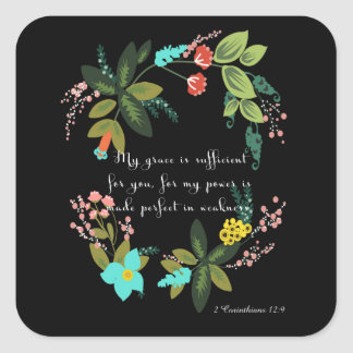 Bible Verses Art - 2 Corinthians 12:9 Stickers