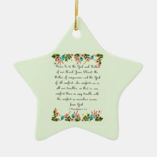 Bible Verses Art - 2 Corinthians 1:3-4 Ceramic Ornament