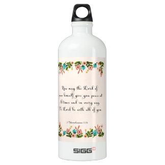 Bible Verses Art - 2 Thessalonians 3:16 Aluminum Water Bottle