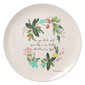Bible Verses Art - Colossians 33:3 Melamine Plate