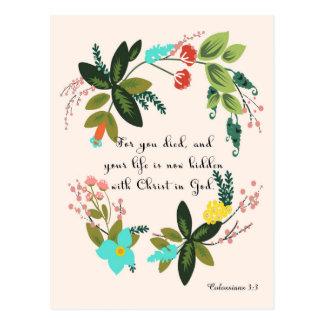 Bible Verses Art - Colossians 33:3 Postcard
