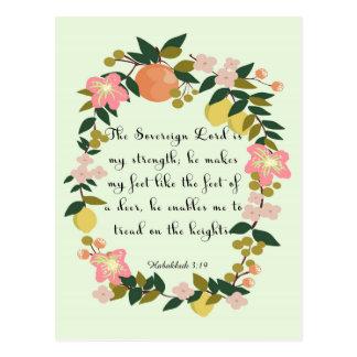 Bible Verses Art - Habakkuk 3:19 Postcard
