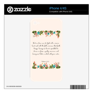 Bible Verses Art - Hebrew 10:22 iPhone 4 Decal