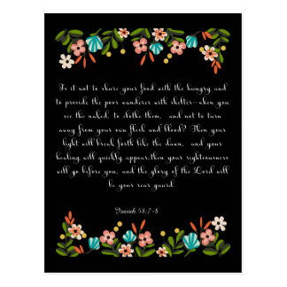 Bible Verses Art - Isaiah 58:7-8 Postcard