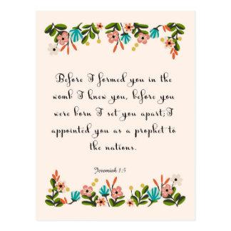 Bible Verses Art - Jeremiah 1:5 Postcard