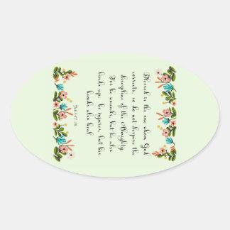 Bible Verses Art - Job 5: 17-18 Oval Sticker