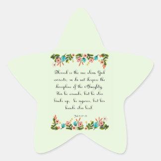 Bible Verses Art - Job 5: 17-18 Star Sticker