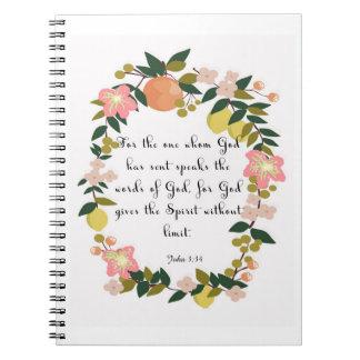 Bible Verses Art - John 3:34 Note Book