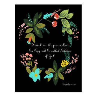 Bible Verses Art - Matthew 5:9 Postcard