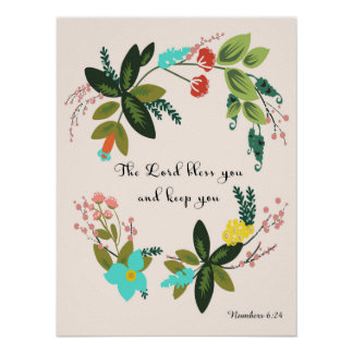 Bible Verses Art - Numbers 6:24 Poster