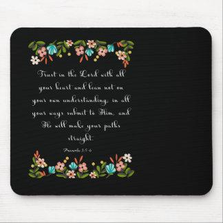 Bible Verses Art - Proverbs 3:5-6 Mouse Pad