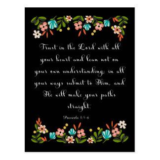 Bible Verses Art - Proverbs 3:5-6 Postcard