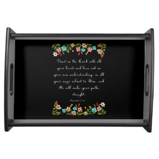 Bible Verses Art - Proverbs 3:5-6 Serving Tray