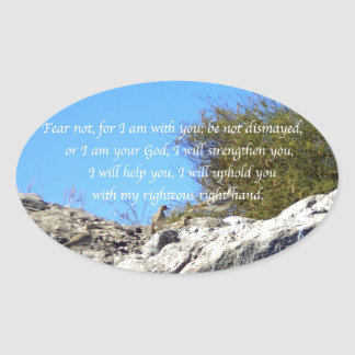 Bible Verses Inspirational Quote Isaiah 41:10 Oval Sticker