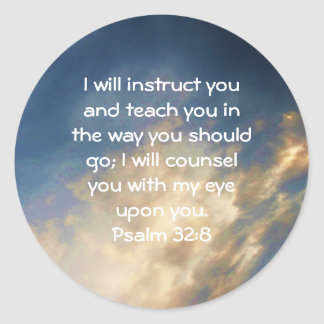 Bible Verses Inspirational Quote Psalm 32:8 Classic Round Sticker