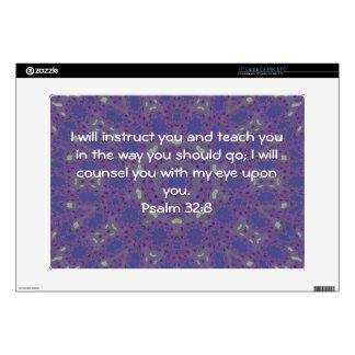 Bible Verses Inspirational Quote Psalm 32:8 Laptop Skin