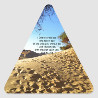 Bible Verses Inspirational Quote Psalm 32:8 Triangle Sticker