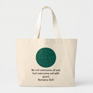 Bible Verses Love Quote Saying Romans 12 21 Tote Bags