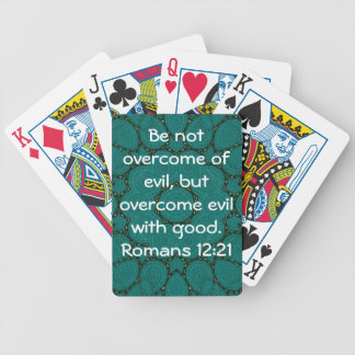 Bible Verses Love Quote Saying Romans 12:21 Bicycle Playing Cards
