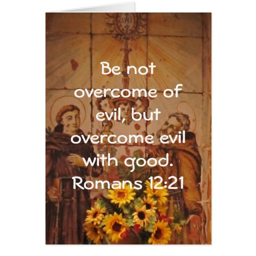 Bible Verses Love Quote Saying Romans 12:21 Greeting Cards