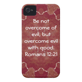 Bible Verses Love Quote Saying Romans 12 21 iPhone 4 Cases