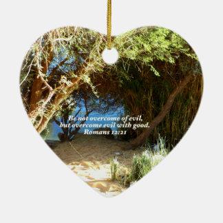 Bible Verses Love Quote Saying Romans 12:21 Ceramic Ornament