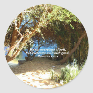 Bible Verses Love Quote Saying Romans 12:21 Classic Round Sticker