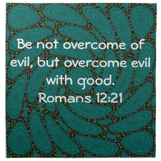 Bible Verses Love Quote Saying Romans 12:21 Cloth Napkin