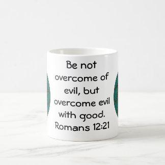 Bible Verses Love Quote Saying Romans 12:21 Coffee Mug