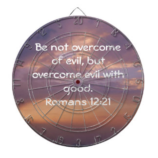 Bible Verses Love Quote Saying Romans 12:21 Dartboard With Darts