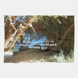 Bible Verses Love Quote Saying Romans 12:21 Hand Towel