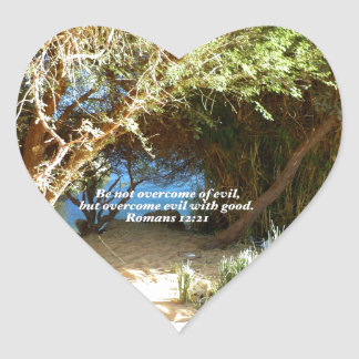 Bible Verses Love Quote Saying Romans 12:21 Heart Sticker