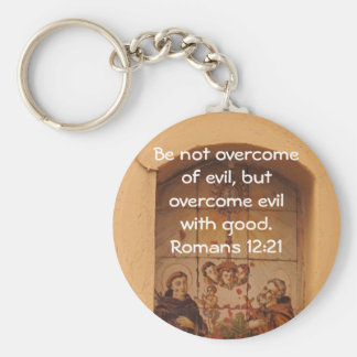 Bible Verses Love Quote Saying Romans 12:21 Keychain