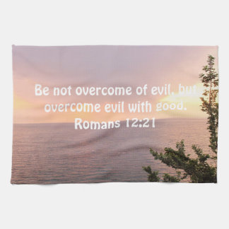 Bible Verses Love Quote Saying Romans 12:21 Kitchen Towel