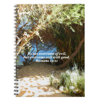 Bible Verses Love Quote Saying Romans 12:21 Spiral Note Book