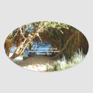Bible Verses Love Quote Saying Romans 12:21 Oval Sticker