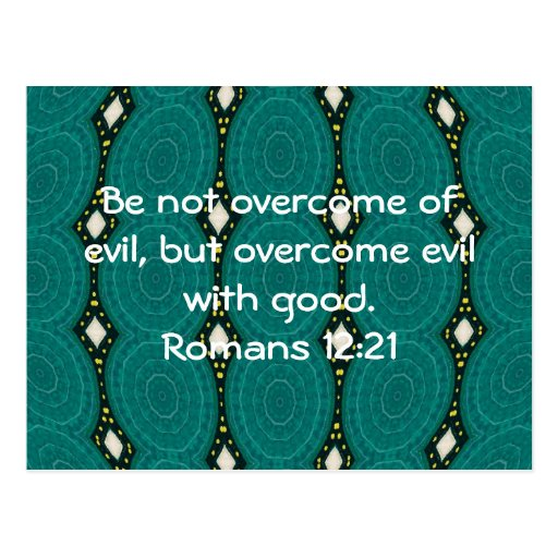 Bible Verses Love Quote Saying Romans 12:21 Post Cards