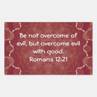 Bible Verses Love Quote Saying Romans 12:21 Rectangular Sticker