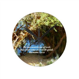 Bible Verses Love Quote Saying Romans 12:21 Round Clock