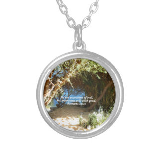Bible Verses Love Quote Saying Romans 12:21 Silver Plated Necklace