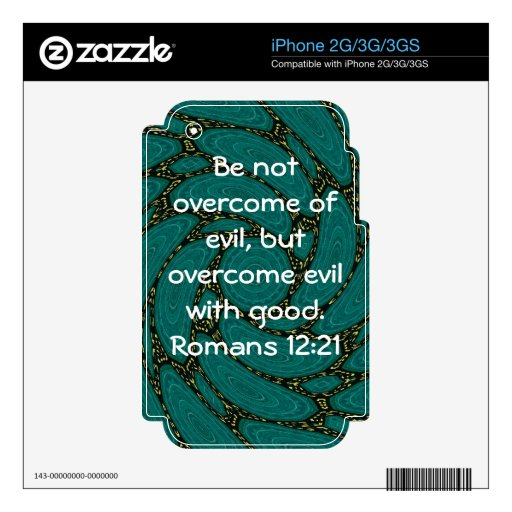 Bible Verses Love Quote Saying Romans 12:21 Skin For The iPhone 3GS