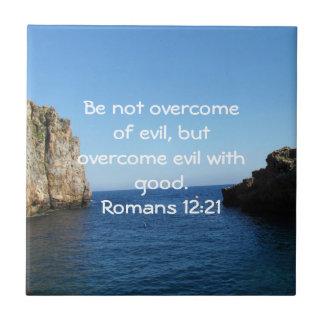 Bible Verses Love Quote Saying Romans 12:21 Tile