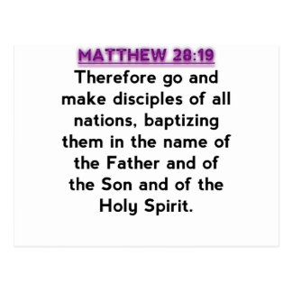 Bible Verses - Matthew 28:19 Postcard