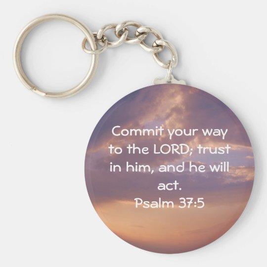 Bible Verses Motivational Scriptures Psalm 37:5 Keychain
