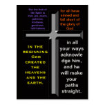 Bible verses on a colorful postcard