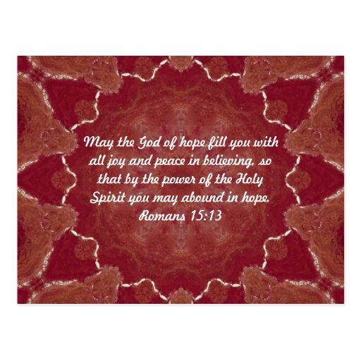 Bible Verses Uplifting Quote Romans 15:13 Post Card