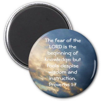 Bible Verses Wisdom Quote Saying Proverbs 1:7 2 Inch Round Magnet