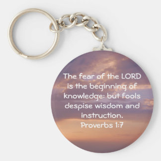 Bible Verses Wisdom Quote Saying Proverbs 1:7 Basic Round Button Keychain